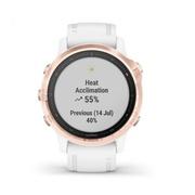 Часы Garmin Fenix 6S Pro розовое золото с белым ремешком